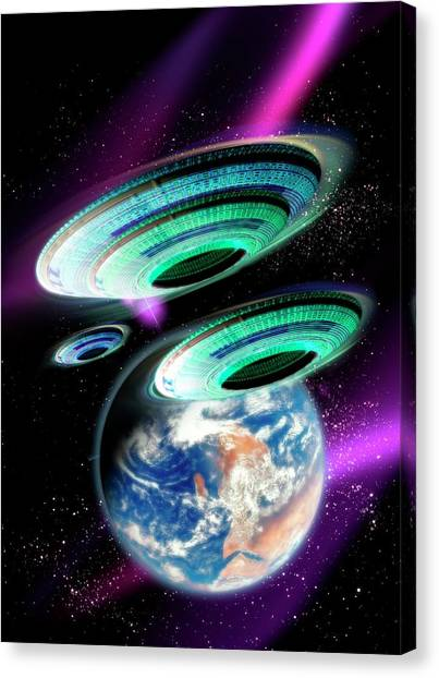 Flying Saucers Invading Earth, Artwork Canvas Print by Victor Habbick Visions