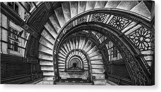 Canvas Print featuring the drawing Frank Lloyd Wright - The Rookery by Clint Hansen