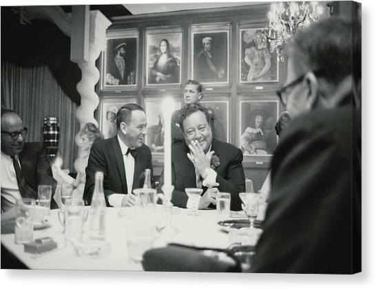 Frank Sinatra L Sharing A Laugh With Canvas Print by John Dominis