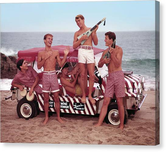Guys And Gals On The Beach Canvas Print