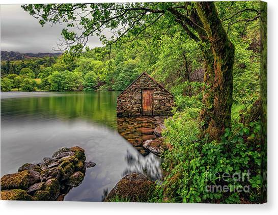Canvas Print - Gwynant Lake Boat House by Adrian Evans