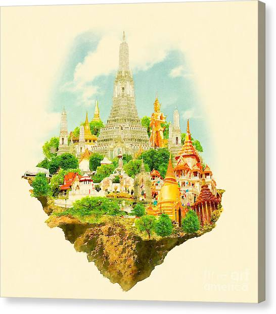Famous Places Canvas Print - High Resolution Watercolor Illustration by Trentemoller