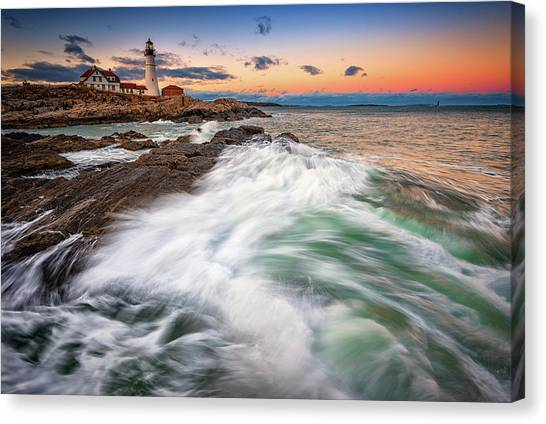 Canvas Print featuring the photograph High Tide At Dusk by Rick Berk