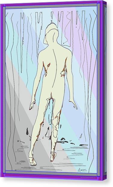 Male Nudes Canvas Print - Hiking by Laurence Wolfe