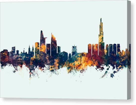 Vietnamese Canvas Print - Ho Chi Minh City Vietnam Skyline by Michael Tompsett