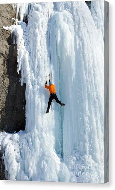 Ice Climbing Canvas Print - Ice Climbing The Waterfall by Vitalii Nesterchuk