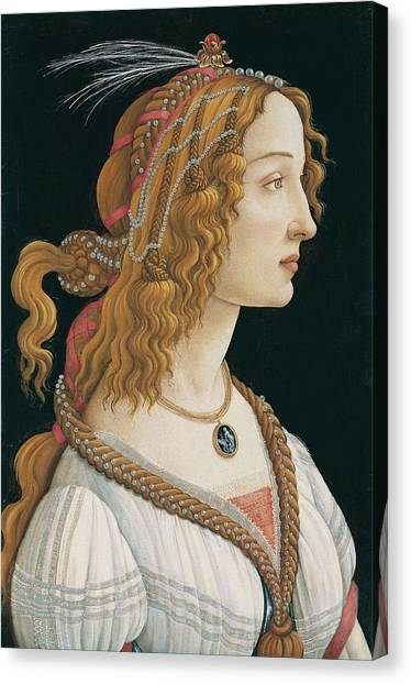 Botticelli Canvas Print - Portrait Of A Young Woman, Portrait Of Simonetta Vespucci As Nymph by Sandro Botticelli