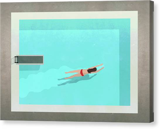 Illustration Of Woman Swimming In Pool Canvas Print