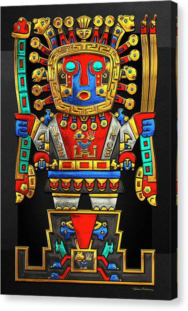 Storms Canvas Print - Incan Gods - The Great Creator Viracocha On Black Canvas by Serge Averbukh