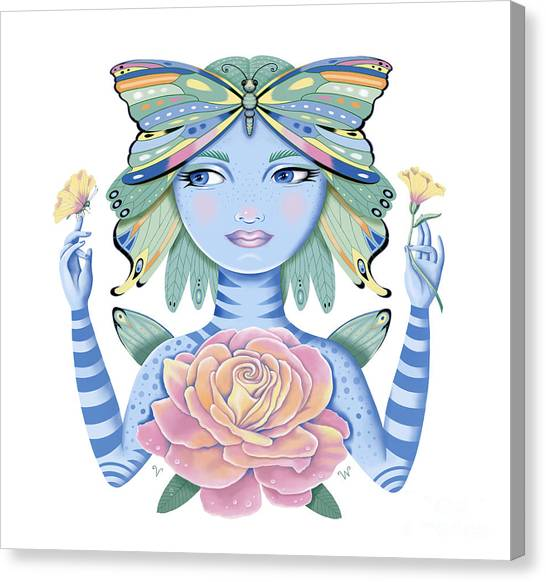 Insect Girl, Winga, With Rose Canvas Print