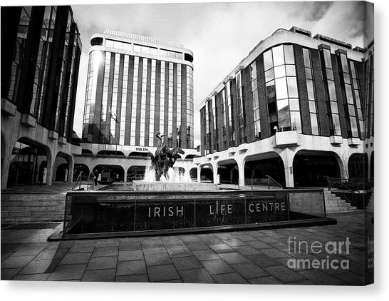 Irish Life Centre With Chariot Of Life Sculpture And Fountain Dublin Republic Of Ireland Europe Canvas Print by Joe Fox