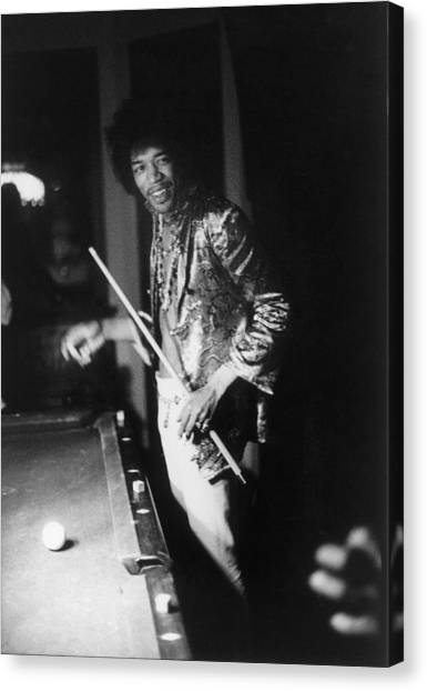 Jimi Hendrix Plays Pool Canvas Print
