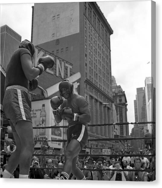 Joe Frazier Canvas Print - Joe Frazier Sparring Session by Donaldson Collection