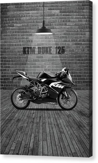 Duke University Canvas Print - Ktm Duke 125 Red Wall by Smart Aviation