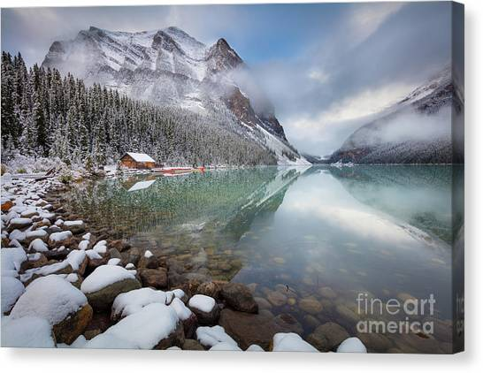 Foggy Forests Canvas Print - Lake Louise Winter by Inge Johnsson