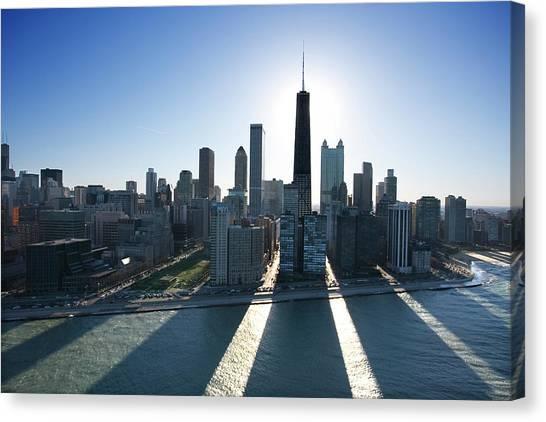 Lake Michigan By Chicago Skyline Canvas Print