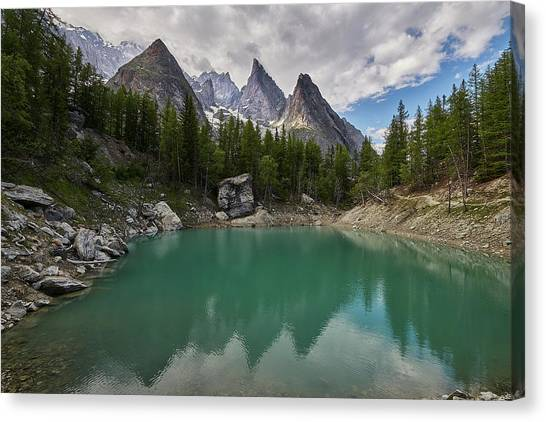 Verde Canvas Print - Lake Verde In The Alps by Jon Glaser