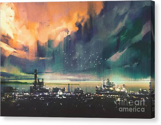 Town Canvas Print - Landscape Digital Painting Of Sci-fi by Tithi Luadthong