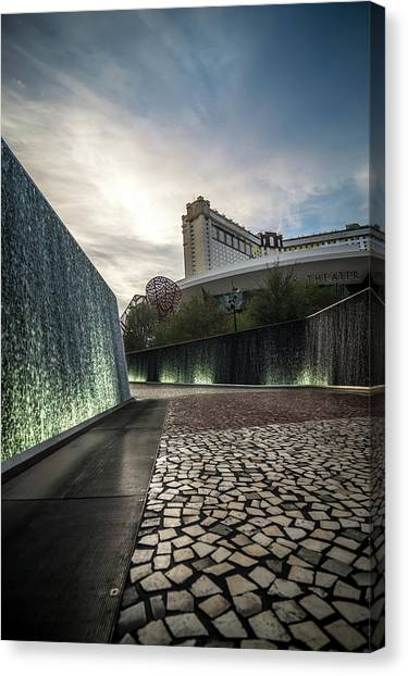 Canvas Print featuring the photograph Las Vegas Nevada City Scenery On Sunny Day by Alex Grichenko