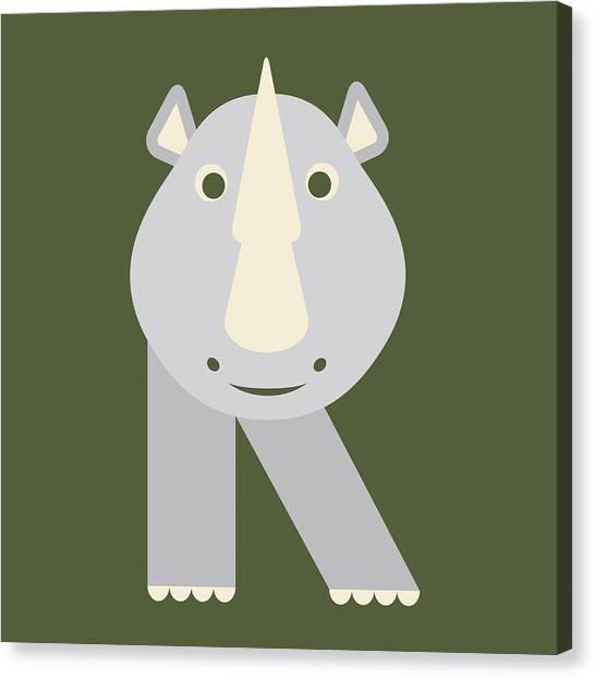 Letter R - Animal Alphabet - Rhino Monogram Canvas Print