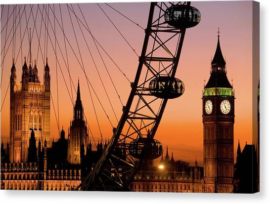 London Eye And Big Ben At Dusk Canvas Print