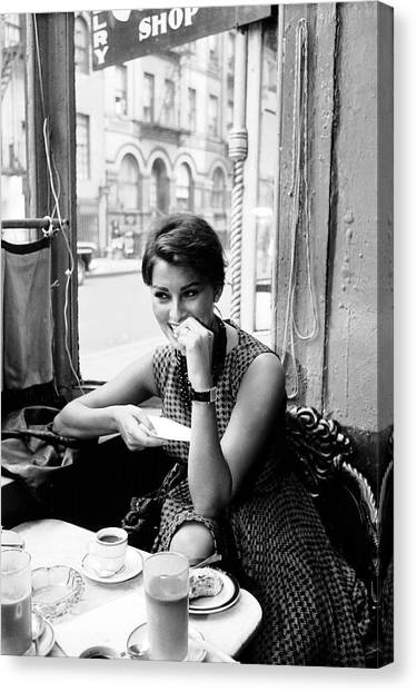Loren In New York Cafe Canvas Print
