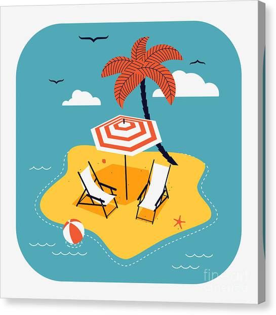Seagull Canvas Print - Lovely Vector Web Icon With Rounded by Mascha Tace
