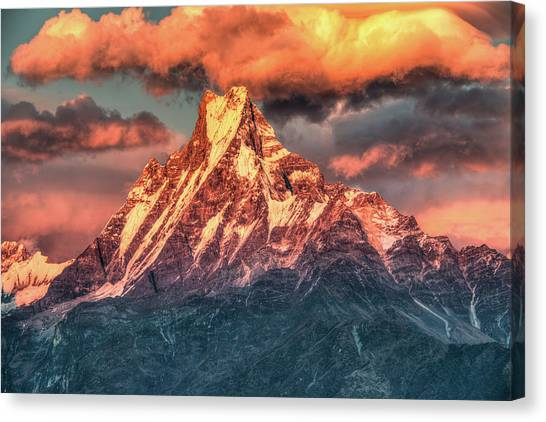 Machapuchare Mountain, Fish Tail In Canvas Print by Emad Aljumah