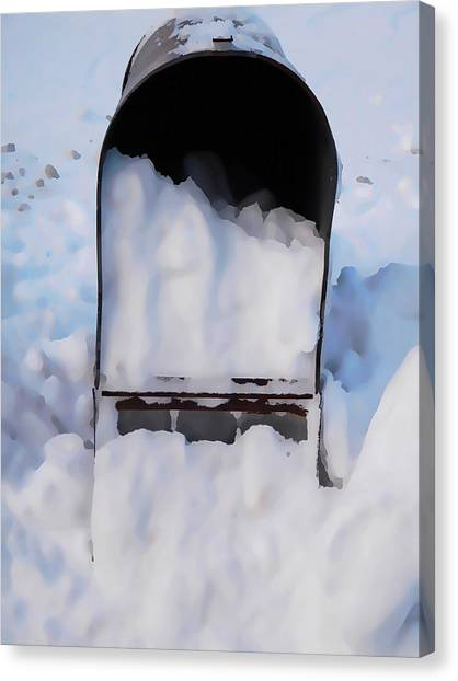 Buried Canvas Print - Mailboxes Covered In Snow 5 by Jeelan Clark