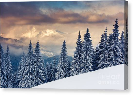 Hoarfrost Canvas Print - Majestic Sunset In The Mountains by Creative Travel Projects