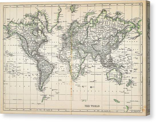 Map Of The World 1855 Canvas Print by Thepalmer