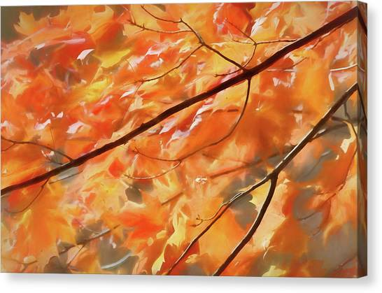 Canvas Print featuring the photograph Maple Leaves On Fire by Rob Huntley