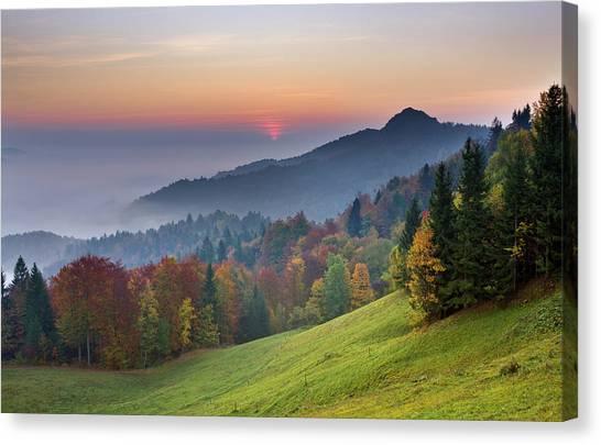 Ljubljana Canvas Print - Mist Over The Ljubljana Basin At by Lizzie Shepherd / Robertharding