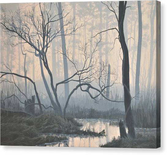 Misty Hideaway - Wood Duck Canvas Print