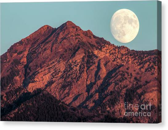 Canvas Print featuring the photograph Moon Rising Over Twin Peaks by Spencer Baugh
