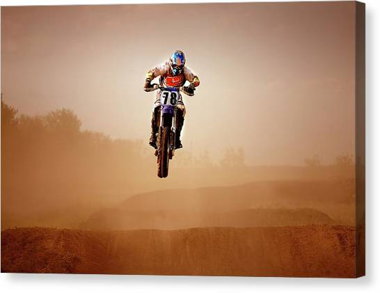 Motocross Rider Canvas Print by Design Pics