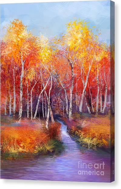 Nature Canvas Print - Oil Painting Landscape - Colorful by Pluie r