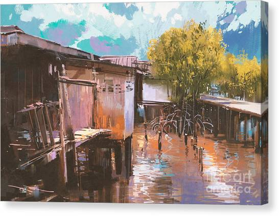 Countryside Canvas Print - Old Fishing Village,oil Painting by Tithi Luadthong