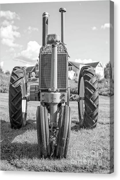 John Deere Canvas Print - Old John Deere Vintage Tractor Stowe Vermont by Edward Fielding