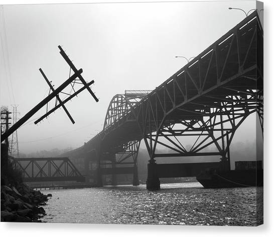Canvas Print featuring the photograph Old Sakonnet River Bridge Iv Bw by David Gordon