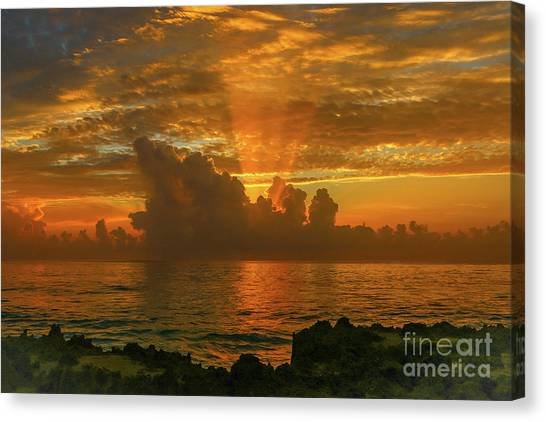 Canvas Print featuring the photograph Orange Sun Rays by Tom Claud
