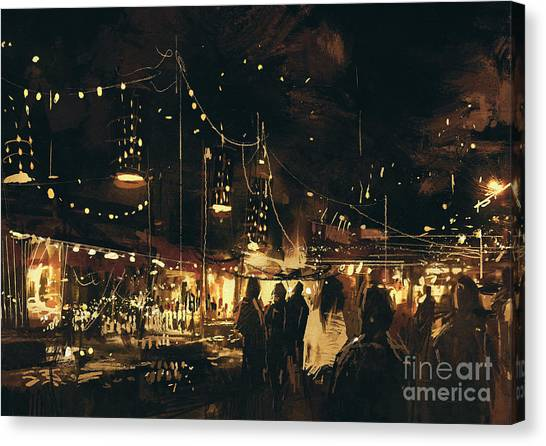 Acrylic Canvas Print - Painting Of Shopping Street City With by Tithi Luadthong