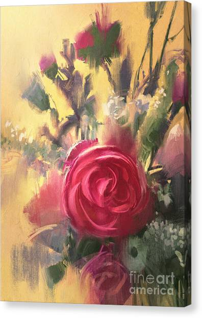 Shrub Canvas Print - Painting Showing Bouquet Of Beautiful by Tithi Luadthong