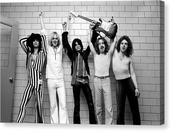 Steven Tyler Canvas Print - Photo Of Aerosmith And Tom Hamilton And by Fin Costello