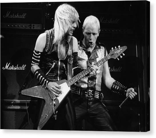 Photo Of Judas Priest And Rob Halford Canvas Print by Pete Cronin