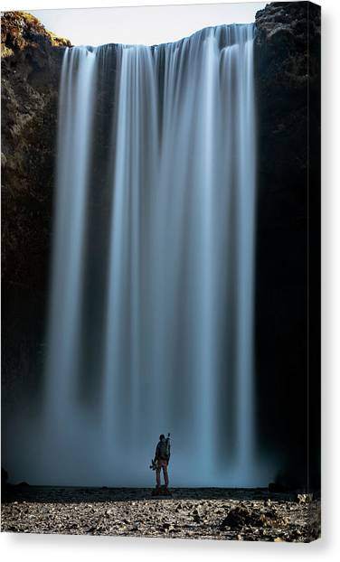 Canvas Print featuring the photograph Amongst Giants Skogafoss Iceland by Nathan Bush