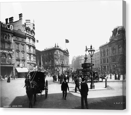 Piccadilly Circus Canvas Print by London Stereoscopic Company
