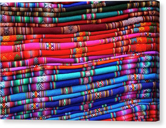 Piles Of Colorful Cloth For Sale Canvas Print by David Wall
