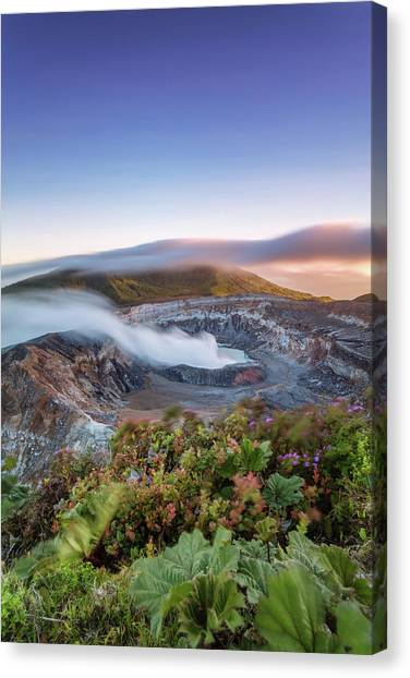 Poas Volcano Crater At Sunset, Costa Canvas Print by Matteo Colombo
