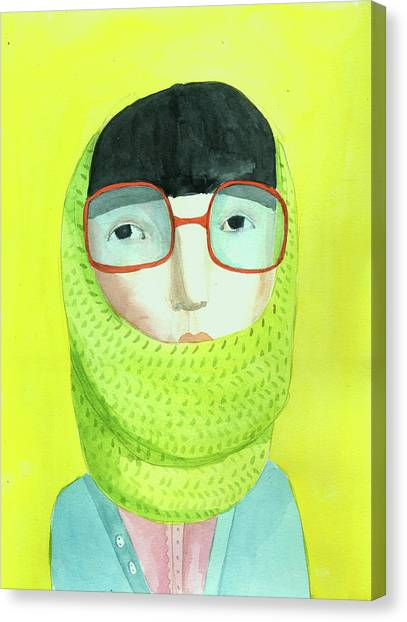 Indoors Canvas Print - Portrait With Glasses by Jenny Meilihove